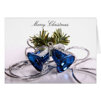 Merry Christmas Greeting Card with Blue Bells