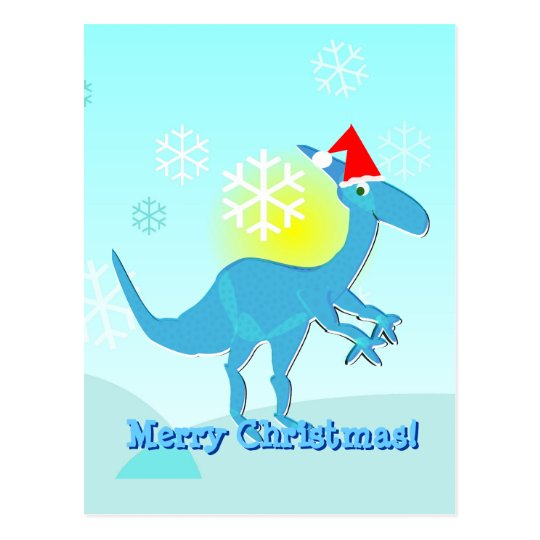 Merry Christmas Greeting Dinosaur Postcard