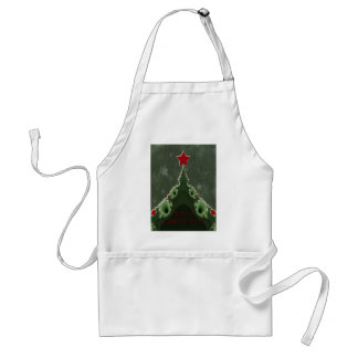 Merry Christmas Greeting - Fractal Tree and Star Adult Apron