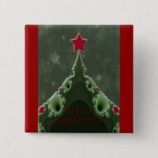 Merry Christmas Greeting - Fractal Tree and Star Button