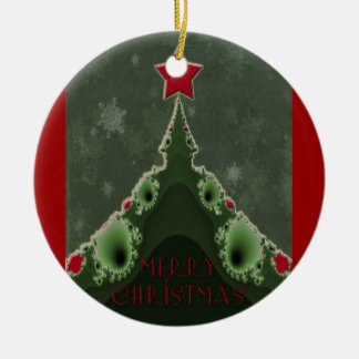 Merry Christmas Greeting - Fractal Tree and Star Ceramic Ornament