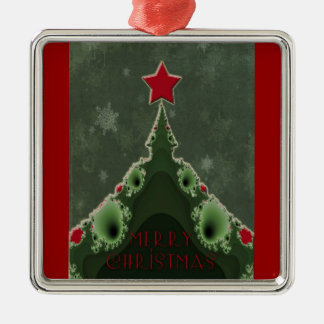 Merry Christmas Greeting - Fractal Tree and Star Metal Ornament