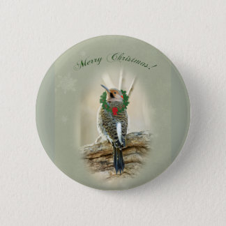 Merry Christmas Greeting - Northern Flicker Pinback Button