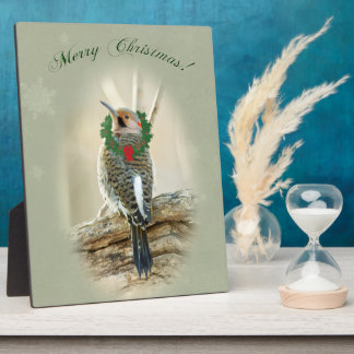 Merry Christmas Greeting - Northern Flicker Plaque