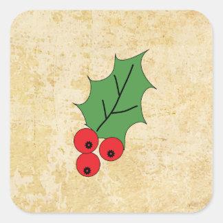 Merry Christmas greeting season holly berries Square Sticker