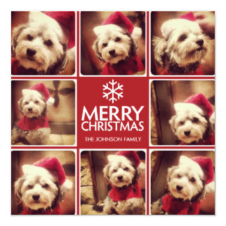 Merry Christmas Greeting with 8 photo collage RED Invitation