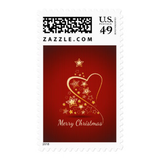 Merry Christmas greeting with golden ornaments Postage