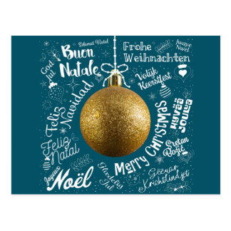 Merry Christmas greetings card from world in diffe