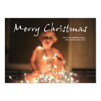 Merry Christmas Greetings Holiday Photo Black 5x7 Paper Invitation Card