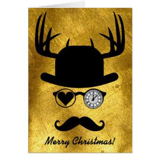 Merry Christmas Greetings Mustache Big Ben London Card