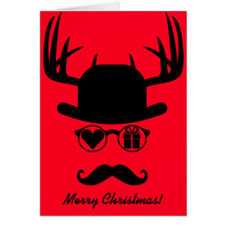 Merry Christmas Greetings Mustache Present Card