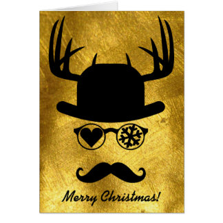Merry Christmas Greetings Mustache Snow Star Card