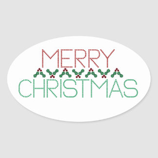 Merry Christmas Greetings Oval Sticker