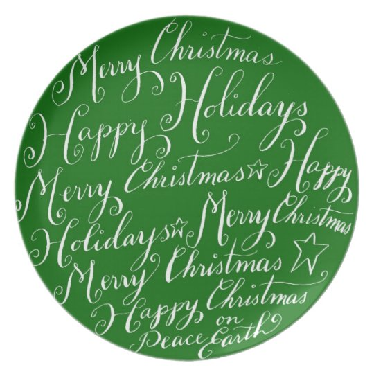 Merry Christmas Greetings Plate