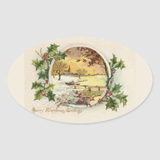 Merry Christmas Greetings Vintage Oval Sticker