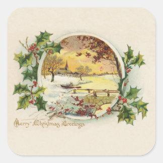 Merry Christmas Greetings Vintage Square Sticker
