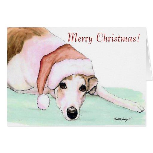 Merry Christmas Greyhound Art Christmas Card Zazzle