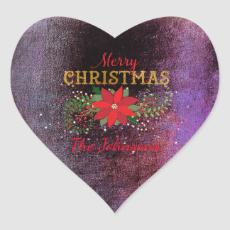 Merry Christmas Grungy Burgundy Heart Heart Sticker
