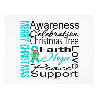 """Merry Christmas Gynecologic Cancer Ribbon Collage 8.5"""" X 11"""" Flyer"""