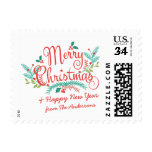 MERRY CHRISTMAS HAND-DRAWN HOLLY AND BRANCHES POSTAGE