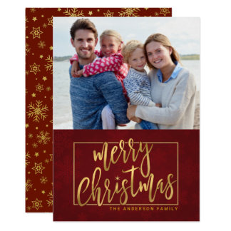 Merry Christmas Hand-Lettered Flat Photo Card