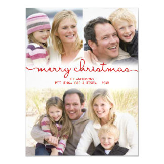 Merry Christmas Hand Lettered Frosty Photo Collage Magnetic Card