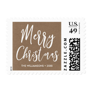 Merry Christmas Hand-lettered Rustic Kraft Paper Postage