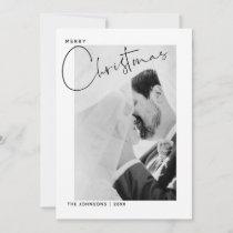 Merry Christmas Handlettered Name Photo Christmas Holiday Card