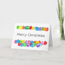 Merry Christmas , handpainted watercolor baubles Holiday Card