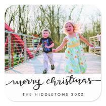 Merry Christmas Handwritten Modern Script Photo Square Sticker