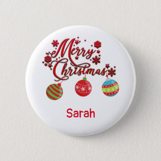 Merry Christmas Hanging Ornaments Pinback Button