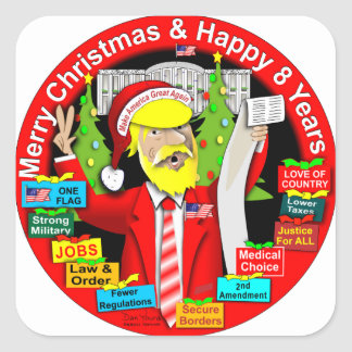 Merry Christmas & Happy 8 Years Square Sticker