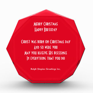 Merry Christmas happy birthday Acrylic Award
