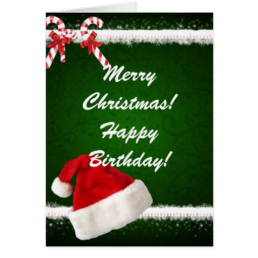 Merry Christmas Happy Birthday Card Zazzle Happy Birthday And Merry Wishes
