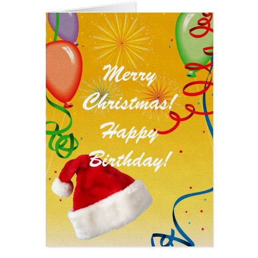 Merry Christmas Happy Birthday Card