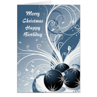 Merry Christmas Happy Birthday Greeting Cards