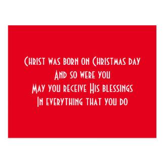 Merry Christmas happy birthday Postcard