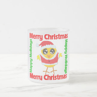 Merry Christmas Happy Holiday CHICK 10 Oz Frosted Glass Coffee Mug