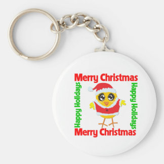 Merry Christmas Happy Holiday CHICK Keychain