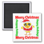 Merry Christmas Happy Holiday CHICK Refrigerator Magnets