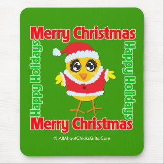 Merry Christmas Happy Holiday CHICK Mouse Pad