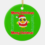 Merry Christmas Happy Holiday CHICK Double-Sided Ceramic Round Christmas Ornament