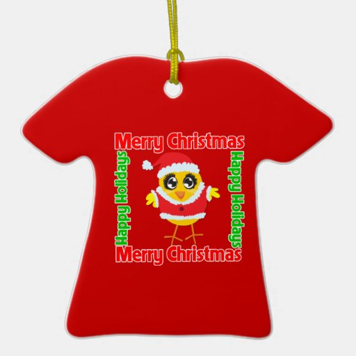 Merry Christmas Happy Holiday CHICK Christmas Ornaments