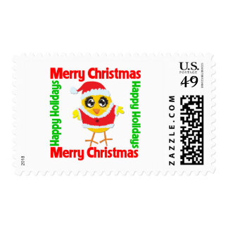 Merry Christmas Happy Holiday CHICK Stamps