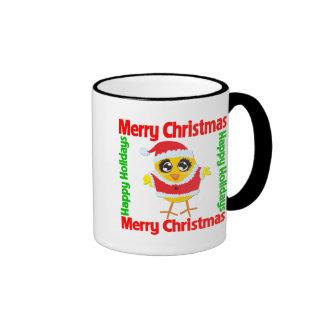 Merry Christmas Happy Holiday CHICK Ringer Coffee Mug