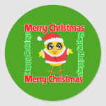 Merry Christmas Happy Holiday CHICK Round Stickers