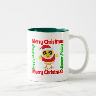 Merry Christmas Happy Holiday CHICK Two-Tone Coffee Mug