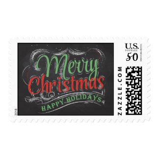 Merry Christmas Happy Holidays Chalkboard Postage