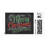 Merry Christmas Happy Holidays Chalkboard Postage