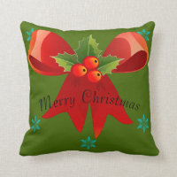 Merry Christmas/Happy Holidays Pillow (Big Bow)